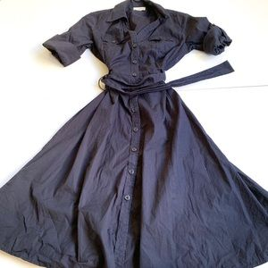 LOFT midi navy blue dress size 8